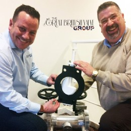 The Great British Valve Group�s Gavin Wheeler presenting BVAA CEO Rob Bartlett with their kind valve donation