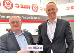 Stephane Moison (right) who is the President of Safi Thermoplastic Valves with John Freeman Area Sales Manager in the UK who has been with Safi for 30 years