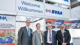 (L to R) Messe Operational Managing Director Wolfram Diener, British Consul General Rafe Courage, BVAA Chairman Colin Findlay, BVAA CEO Rob Bartlett
