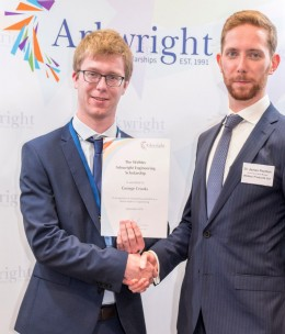 From L to R : George Crooks receiving the Roy Cuthbert Scholarship award from Webtec�s James Poulten