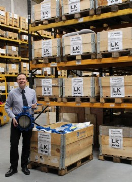 Colin Evans amid the stock of Socla Sylax butterfly valves
