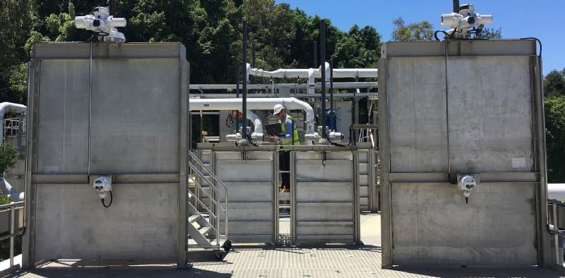 Rotork IQ3 multi-turn actuators are controlling eight penstock gate valves at a sewage treatment plant in Murrumba Downs, Australia