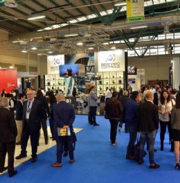 Visitors perusing exhibitor stands at IVS