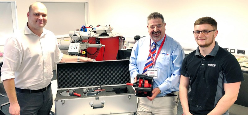 L-R: Matthew Knapton - Engineering Manager, Rotork, Rob Bartlett - BVAA Director and George Simpson - Development Technician,Rotork