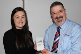 Sophie Page from Wartsila Valves winning a contribution to session award presented by BVAA