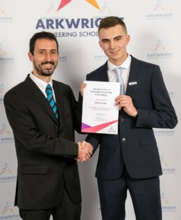 Diego Cossio, Development Engineer at Webtec seen here presenting the Roy Cuthbert Scholarship to Ethan Green
