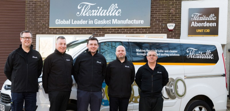 The Flexitallic team in Aberdeen, (left to right): Les Pollard, David Anderson, Adam Atkinson, Colin Magorrian and Ricky Marcella