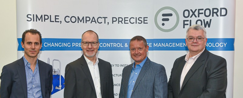 L to R: J�rg Peter, head of M&A, Jens Frisenborg, head of BU industry and utilities, Neil Poxon � CEO and Tim Williams CFO of Oxford Flow Ltd