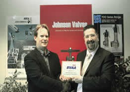 GJ Johnson: Johnson Valves MD Stuart Robertson receives his BVAA Member plaque from BVAA Director Rob Bartlett.